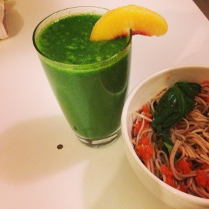 Dinner, kale smoothie and soba noodle spaghetti