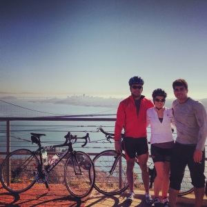 Oscar, Mark and I at the top of Hawk Hill in Marin