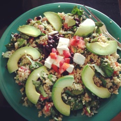 "Cafe Del Soul post-run lunch! Vegan ""quinoa cool"" with tofu."