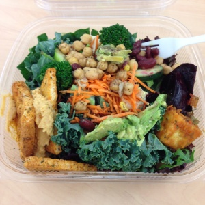Daily hodge podge salad with kale, raw veggies, tofu, beans, avocado, hummus and pita