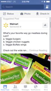 Facebook Wal-mart ad