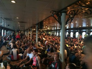 Lower deck of the ferry. Photo credit: escapefromalcatraztriathlon.com