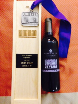 Got a bottle of wine and a medal. Best prize ever!