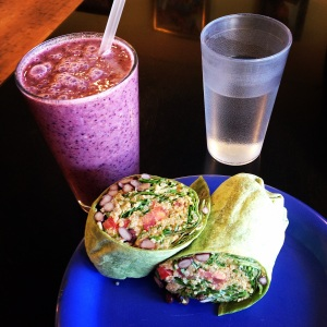 Quinoa Wrap and Blueberry smoothie (all vegan!)