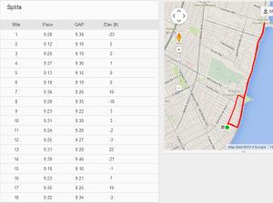Strava Run splits + map