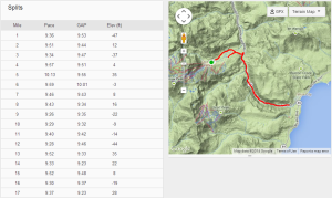 Splits with course map