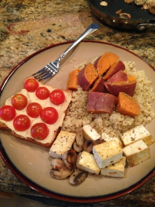 Sample dinner. Lots of sweet potatoes and quinoa this week!