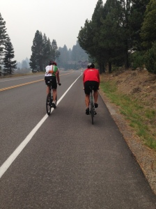 Final bike ride on the run path with Chris and Sam