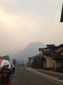 The smoke over the Ironman Village in Squaw