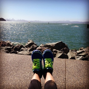 Relaxing in Tiburon. See the skyline in the distance? That's where I started.