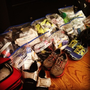 Large baggies are great for packing! And I'll re-use them on race day inside my gear and special needs bags.