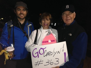 "My parents and brother at 6am before the ""race"" began."