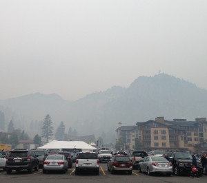 The view of Squaw Valley when I went to pick up my bags. Definitely smoky!!