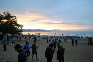 Sunrise from the swim start at Kings Beach