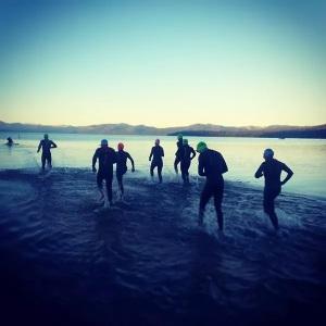 8 Mulligan Man athletes in Lake Tahoe. Photo Credit: Liza Muhl.