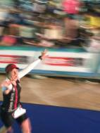 Unbelievably happy running down the finisher's chute :-)