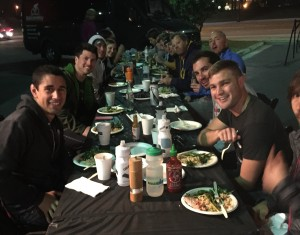 Enjoying an amazing home-cooked group dinner together