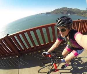 Biking selfie on the Golden Gate Bridge in my new Kona-inspired Smashfest kit!